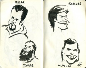 Sketches of my fellow passengers.