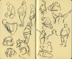 Sumo wrestler sketches for LivingSocial's Sumo + Sushi event.