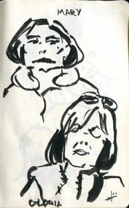 Sketching my sleeping neighbors on the train car.