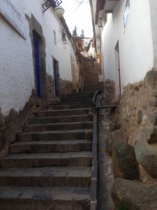 One of the many stairways in Cusco.